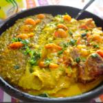 Caruru (creme aux crevettes, gombo, poivrons, noix de cajou, noix d'Amazonie, dendê, piment du Brésil)