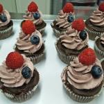 Cupcake Chocolat/framboise/myrtille